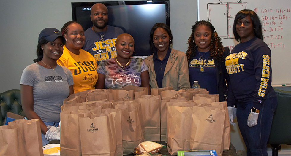 Students from the Social Work Student Graduate Association prepared and handed out nearly 200 meals to Charlotte's homeless population.