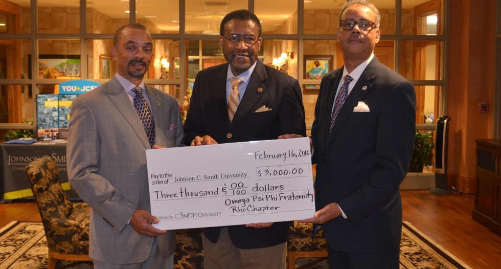 JCSU Trustee Steven Boyd and the  Rho Chapter of Omega Psi Phi Fraternity raised funds to support the Johnson C. Smith University President's GAP Scholarship Fund.