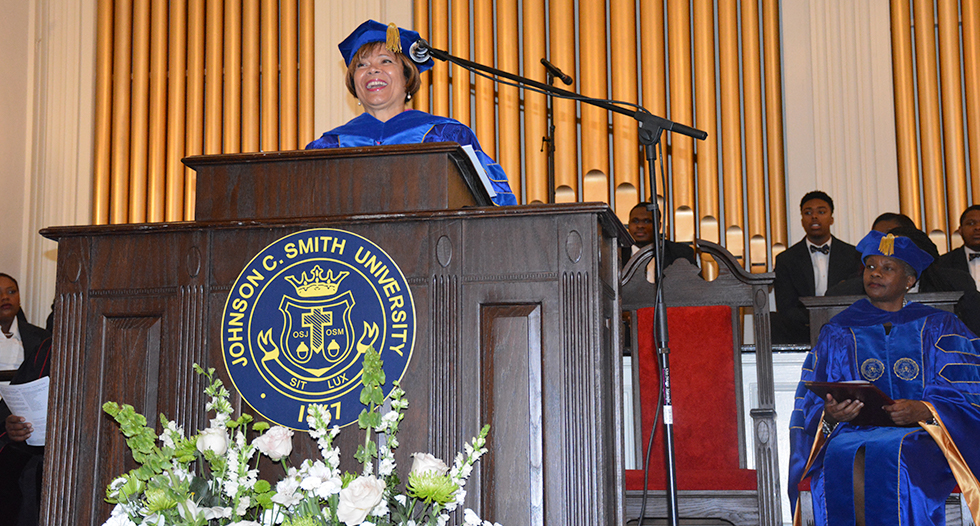 Charlotte Mayor Pro Tem Vi Lyles addresses faculty, staff, students, alumni and friends gathered to celebrate the University's 149th year during Founders' Day Convocation.