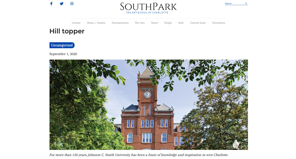 JCSU was showcased in SouthPark Magazine for its history, beauty and for being an anchor in the rapidly changing West side of the city. Click the photo to read the article.