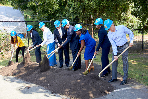 President Armbrister breaks ground at Sustainability Village groundbreaking.