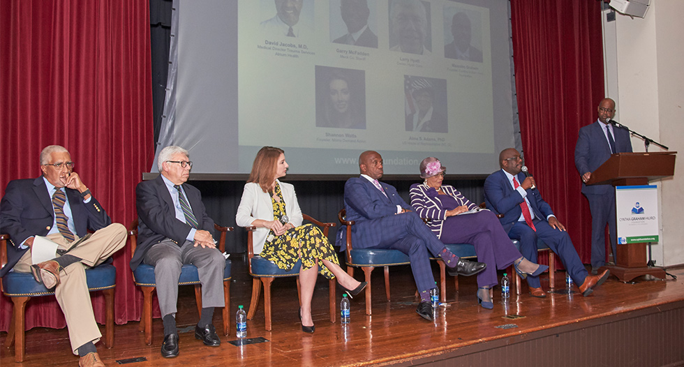 The university was the host site for a Community Conversation about gun violence featuring a panel that included lawmakers, law enforcement, an advocate, a gun retailer and doctor for a discussion on how to come together to solve gun violence.