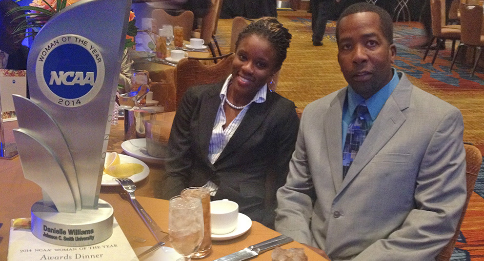 Danielle Williams '14, nationally acclaimed women's track athlete, was recently honored during a banquet in Indianapolis as one of the NCAA's Top 30 Women of 2014. She attended the event with track and field coach Lennox Graham.