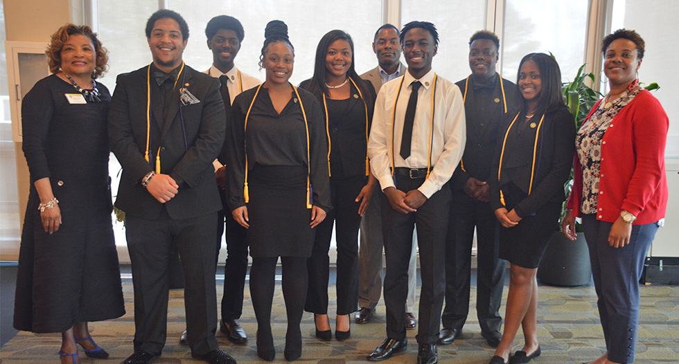 "The Division of Government Sponsored Programs and Research inducted seven students into its Ronald E. McNair Scholars program. This year's theme is ""Defying Gravity: Launching Scholars Academic Success."""