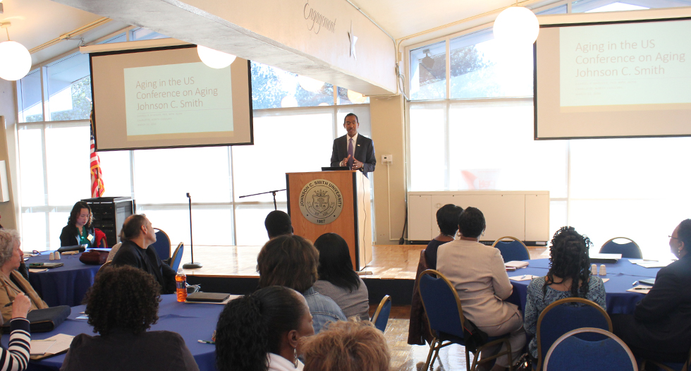 Dr. Darrell Wheeler, president of the National Association of Social Workers, spoke to an engaged audience as the speaker during the Master of Social Work program's Conference on Aging.