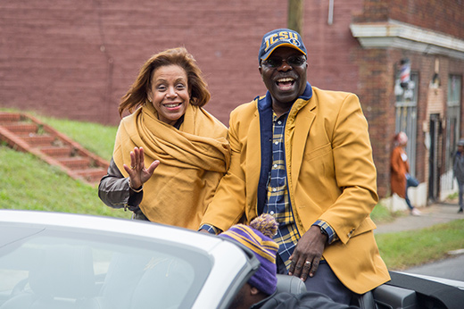 President and First Lady Armbrister wave to parade-goers during the 2018 Homecoming Parade.