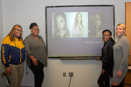 "Chelsea Mance '23, Kyonna Simmons '23, Anijah Taylor '23 and Shelby Martin '20 co-presented ""Original Women,"" a look at how women are categorized, regardless of race."