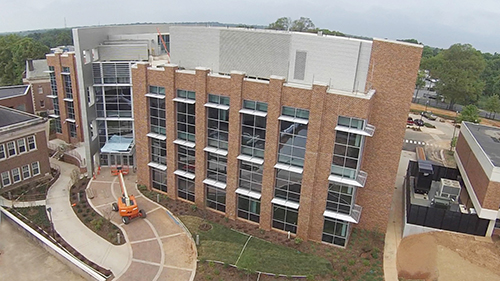 Aerial view of the new science center.