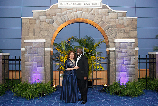 President and First Lady Armbrister pose at the arch during the 2018 Arch of Triumph Gala.