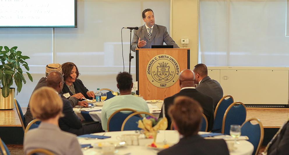 JCSU Trustee Kevin Henry engages members of the community at the second annual Breakfast for Success.